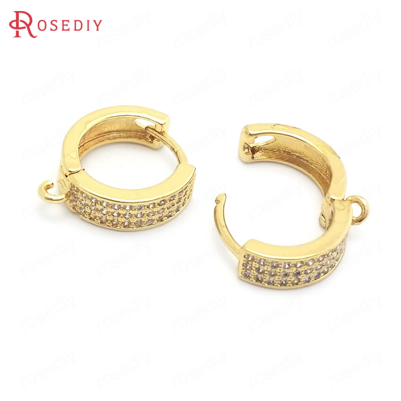 (37858)4PCS 14.5MM 24K Gold Color Brass And Zircon Round Circle Loop Earrings Hooks Jewelry Making Supplies Findings Accessories