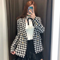Women Autumn Fashion Houndstooth Hairy Za Jacket 2019 Black&White Vintage V neck Tweed Streetwear Outwear Jackets chaqueta mujer