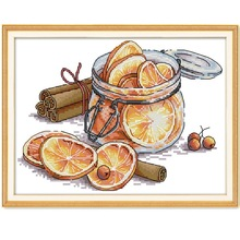 Cross-Stitch-Kit Embroidery Diy Count-Print Aida 14ct Canvas Handmade Lemon 11ct