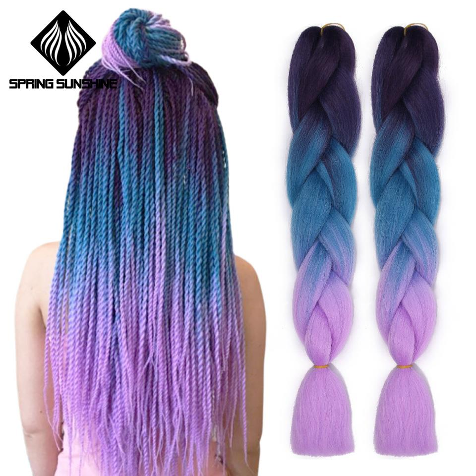 Braiding Hair-Extensions Crochet Spring Sunshine Synthetic Ombre Woman  title=