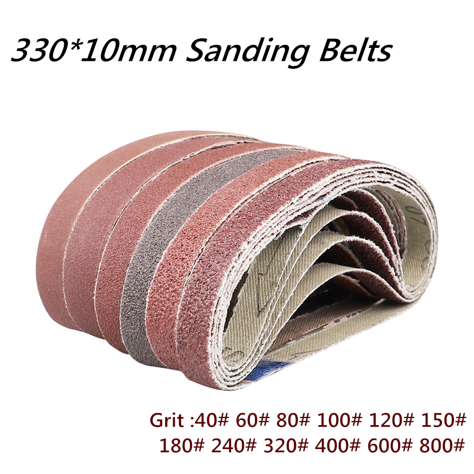 10 Pcs/set 330*10mm Sanding Belts 40-800 Grits Sandpaper Abrasive Bands For Belt Sander Abrasive Tool Wood Soft Metal Polishing