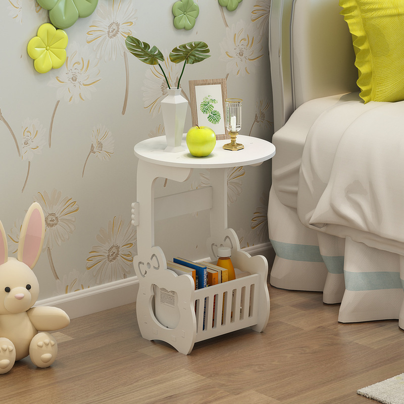 Side Tables Furniture Tea Table Wood Plastic Bedside Table Small Round Carved Table Simple Bedroom Mini-bedside Cupboard