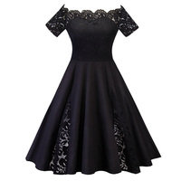 Plus Size Vintage dress 4XL 5XL Black Blue Robe Sexy Slash Neck Short Sleeve Lace Rockabilly Dress Large Size Womens Clothes