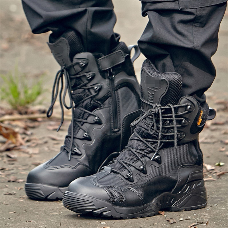 Male Winter Tactical Boots Warm Breathable Waterproof Outdoor Hiking Camping Climbing Non-slip Damping Men Combat Training Shoes