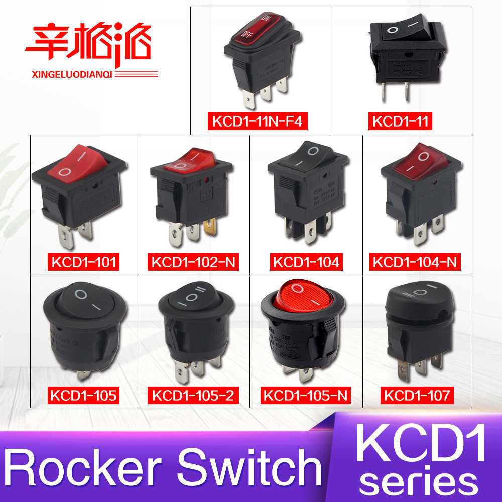 Interruptor basculante serie KCD1 encendido-apagado 3/6/10A 125/250V KCD1-11/11N-F4/ 101/102-N/104/104-N/105/105-2/105-N/107