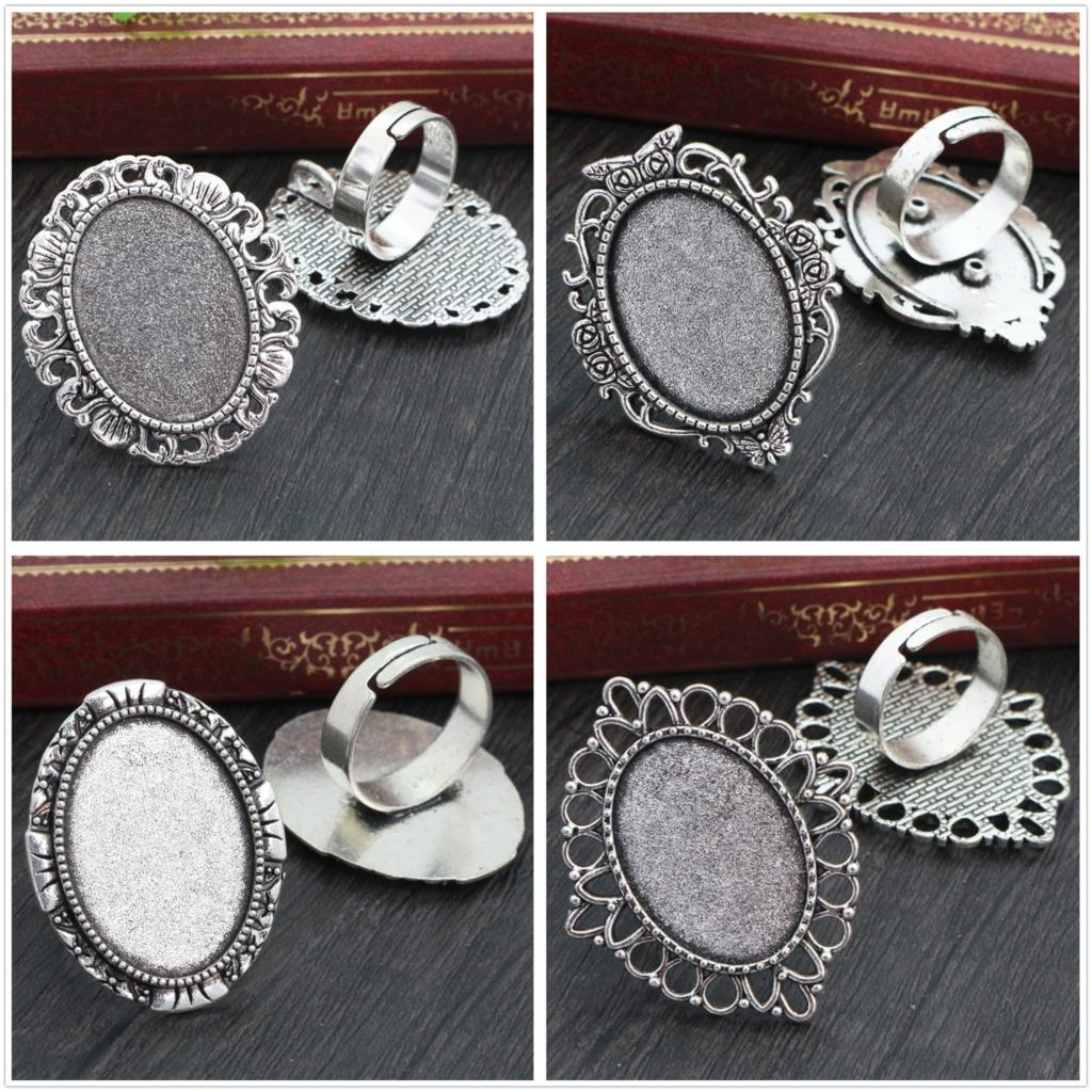 18x25mm 5pcs Antique Silver Plated 4 Style Brass Oval Adjustable Ring Settings Blank/Base,Fit 18x25mm Glass Cabochons