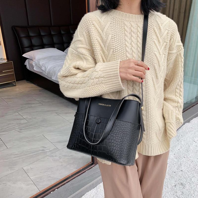 Винтажные кожаные сумки через плечо с каменным узором для женщин, новая сумка на плечо, модные сумки и кошельки на молнии, сумки ведро, 2019|Сумки с ручками| | АлиЭкспресс