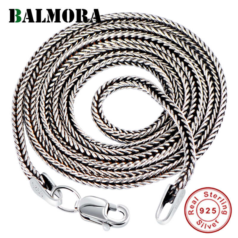 BALMORA Real 925 Sterling Silver Simple Chains Chokers Necklaces for Women Men for Pendant Accessories Vintage Fashion Jewelry