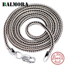 BALMORA Real 925 Sterling Silver Simple Chains Chokers Necklaces for Women Men for Pendant Accessories Vintage Fashion Jewelry(China)