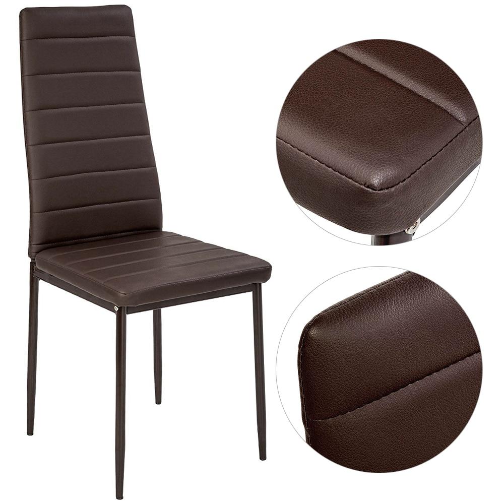 2 ADET Modern Yastıklı Yemek Sandalyesi Suni Deri Metal Bacaklar Moda Çatı Salon Tabure Oturma Odası Boş Sandalye Silla şezlong HWC title=