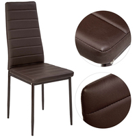 2PCS Modern Padded Dining Chair Faux Leather Metal Legs Fashion Loft Lounge Stool Living Room Leisure Chair Silla chaise HWC
