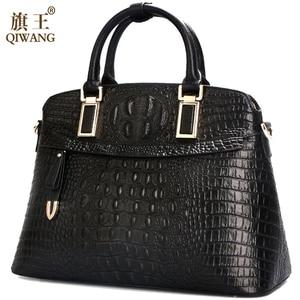Image 2 - Crocodile Leather Women Small Handbags 2019 Qiwang Luxury Designer Ladies Hand Bag 100% Genuine Leather Female Shoulder Bags