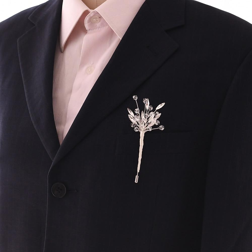 TRiXY Stunning Wedding Brooch Jewelry Women Brooch Silver Groom Boutonniere Rhinestone Bridal Brooch Party Man Suit Corsage XZ04