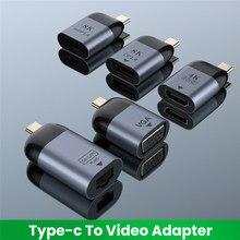 UHD 8K Typ-C zu HDMI-kompatibel/VGA/DP/RJ45/Mini DP Video konverter 4K 60Hz USB Typ C Adapter Für Samsung Huawei MacBook