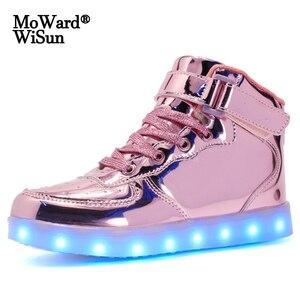 Image 1 - サイズ25 37ファッション子供のled靴グローイング発光唯一十代のスニーカーバスケットライトアップbuty led