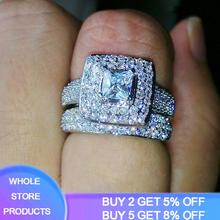 YANHUI With Certificate 2pcs set African Finger Rings Bridal 925 Sliver Wedding Bands Full Shiny Cubic Zirconia Rings Women Gift cheap Silver 925 Sterling Third Party Appraisal Fine Prong Setting See Pics CER149 ROUND Classic S925 Gift Ring Box with certificate and Polishing Cloth
