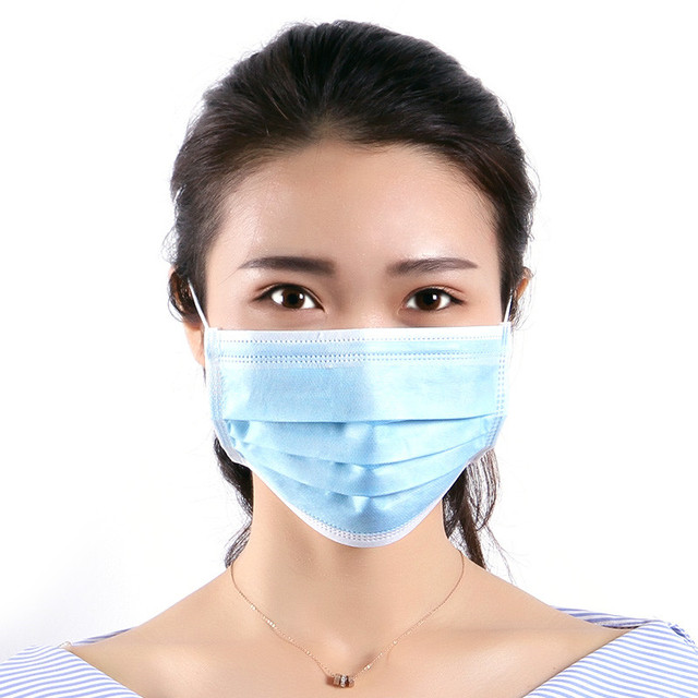 DHL Free Shipping Non Woven Disposable Protective Mask 3 Layers Filter Face Mask Ear Hanging Soft Breathable Flu Sanitary Mask 1