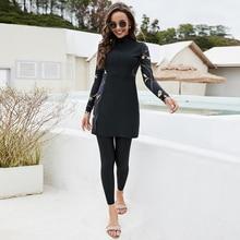 New Black Swimming Suit For Burkini Muslim Fashion Swimwear Women Swimsuit Long Sleeve Arabic Turkey Pakistani Islamic Swim Wear