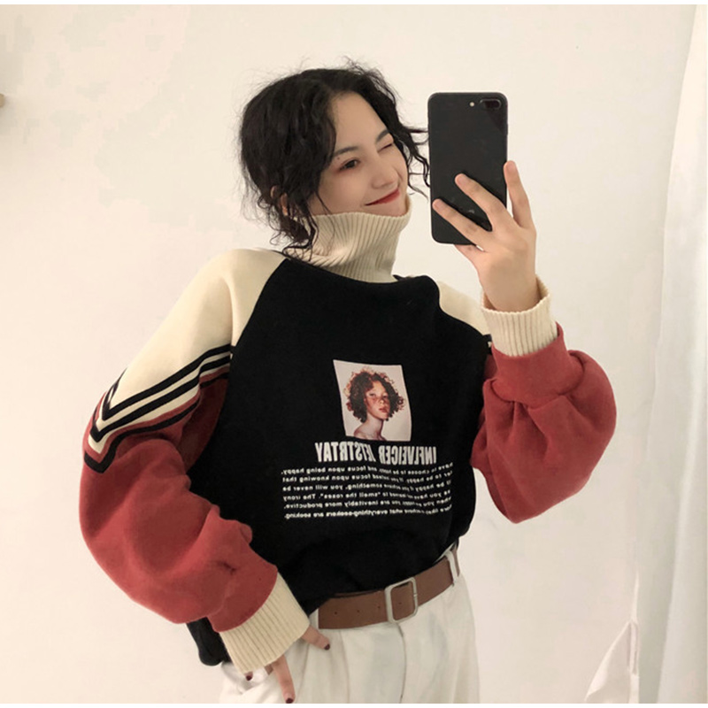 Women's Hoodies Turtleneck Thicker Plus Velvet Warm Harajuku Printed Pullovers Female Oversize Patchwork Leisure Chic Sweatshirt