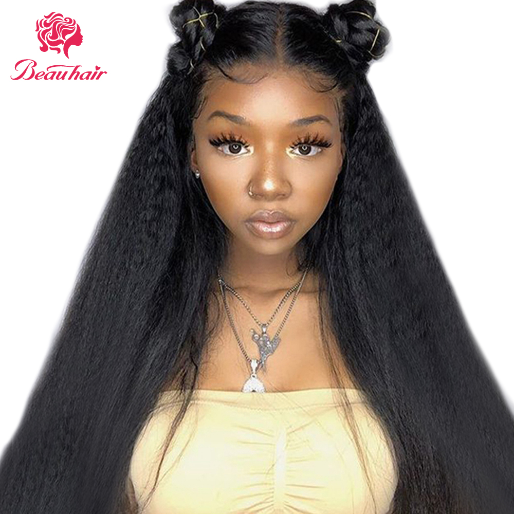 Wig Lace-Frontal Human-Hair Preplucked Women Brazilian 360 for with Bleached Knots Kinky title=