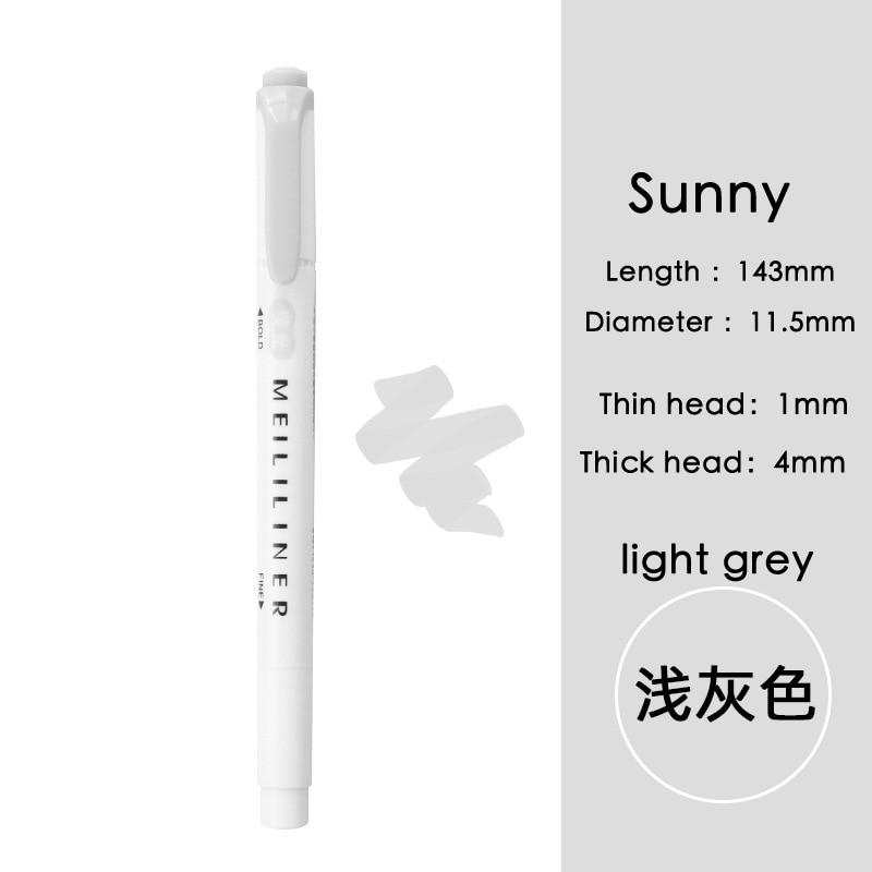 Luz cinza marcador caneta dupla-cabeça à base de água caneta cor estudante marcador escritório luz cor highlighter caneta estudante caneta escritório