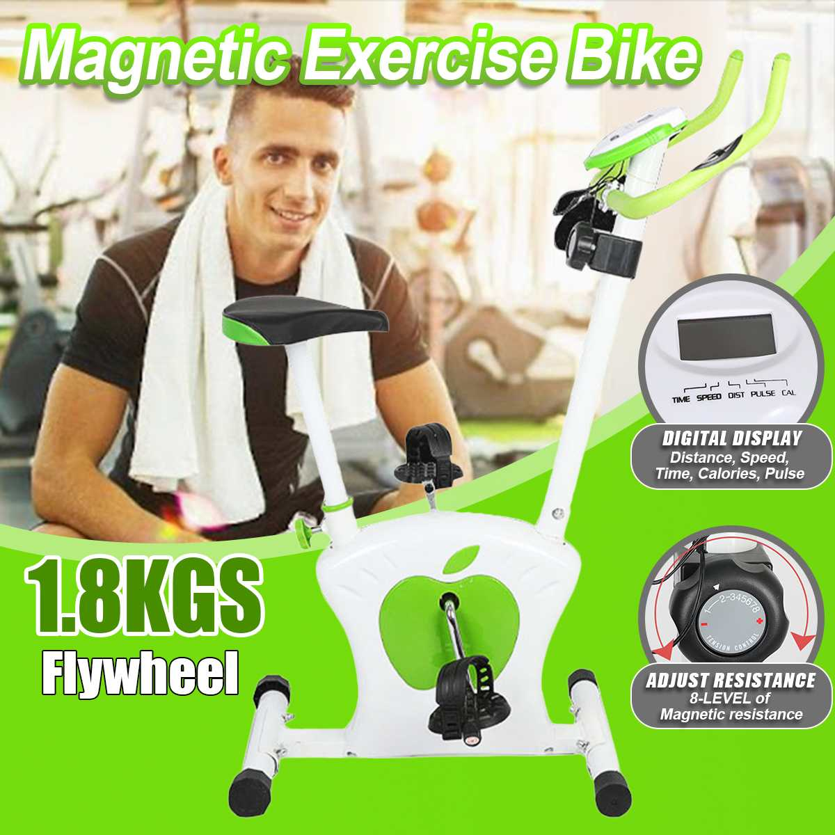 8-Level Magnetic Exercise Bike with LED Display Cardio Home Fitness Gym Indoor Cycling Spinning Bicycle Training Sport Equipment