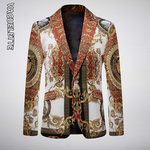 Vaguelette Casual Blazer Men Golden Floral Printed Winter Jacket Slim Fit Party Wedding Jacket Coat Stage Clothers