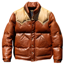 Coat Down-Jacket Cow-Skin-Leather Cowhide Mens Genuine Casual CDDJ1 2-Colours Big Super-Warm