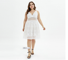 THXDOLL Plus Size Summer Lace sling Dress For Women Sleeveless  V-neck Party Sexy Ladies A-Line Large L-3XL