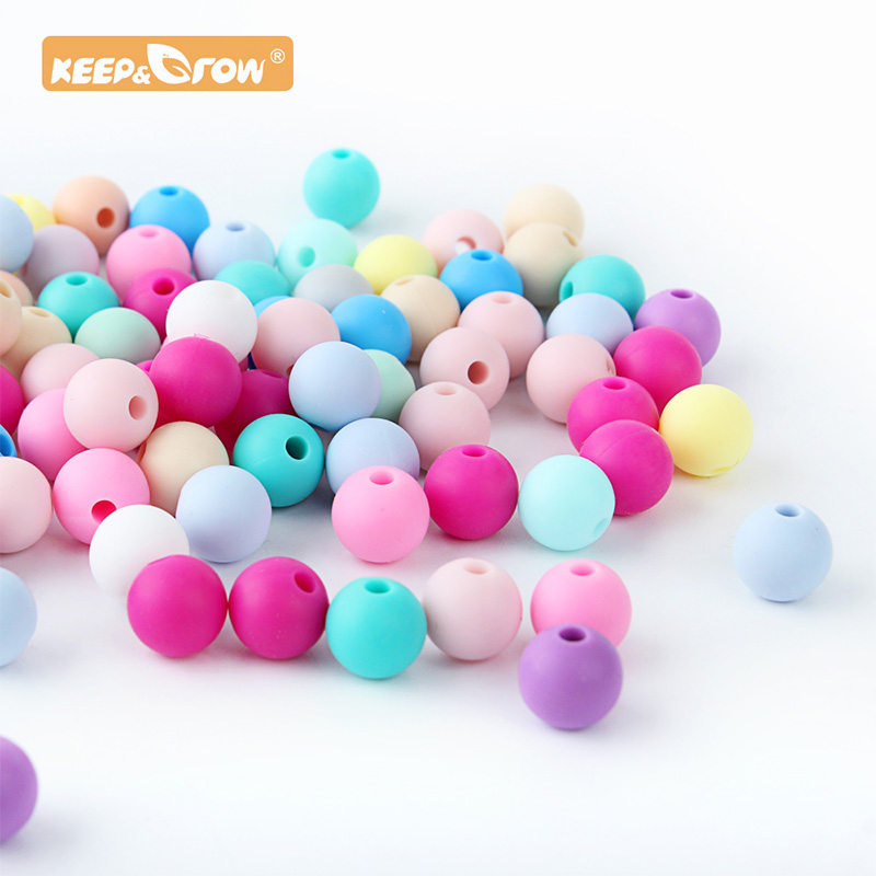 Keep&Grow 500pcs Silicone Beads 12mm Food Grade Round Silicone Beads DIY Baby Pendant Necklace Silicone Teether