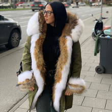 Новинка, Длинная зимняя куртка, женская верхняя одежда, толстые парки, настоящая теплая подкладка из лисьего меха, енот, натуральный мех, воротник, пальто с капюшоном