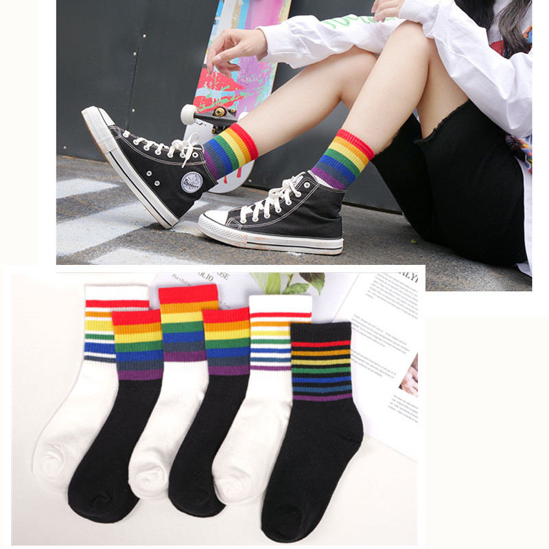 Ladies//Girls Pink And Glitter White Striped Tube Sporty Thick Cotton Ankle Socks