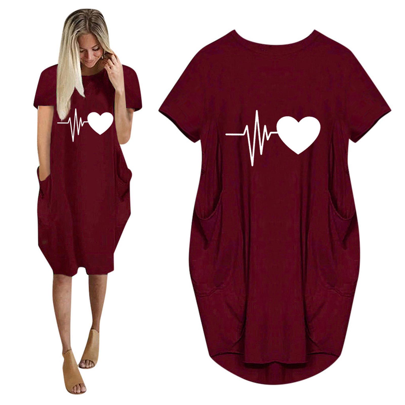 40# Office Lady Love Print Loose Dress Casual Pockets O neck Short Sleeve Dresses Knee Length Plus Size Платье Больших Размеров