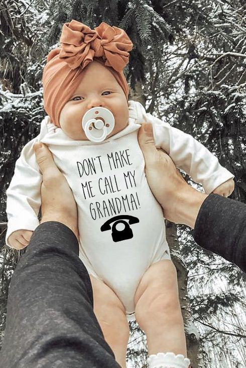Don't Make Me Call My Grandma Newborn Baby Boy Girls Romper Long Sleeve Jumpsuit Cotton Playsuit Cool Letter Onesie Ropa