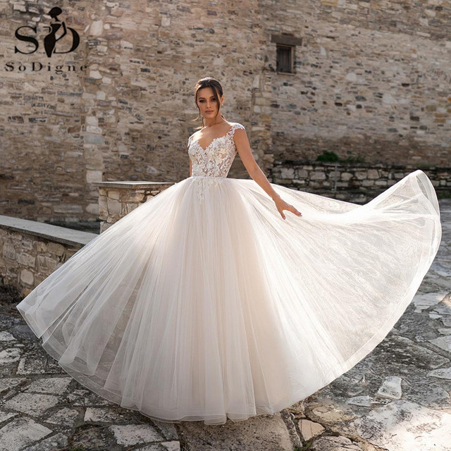 SoDigne Lace Wedding Dresses 2021 V Neck Capped Sleeves Appliques Bridal Gowns A Line Princess Wedding Gown Robe De Mariee 3