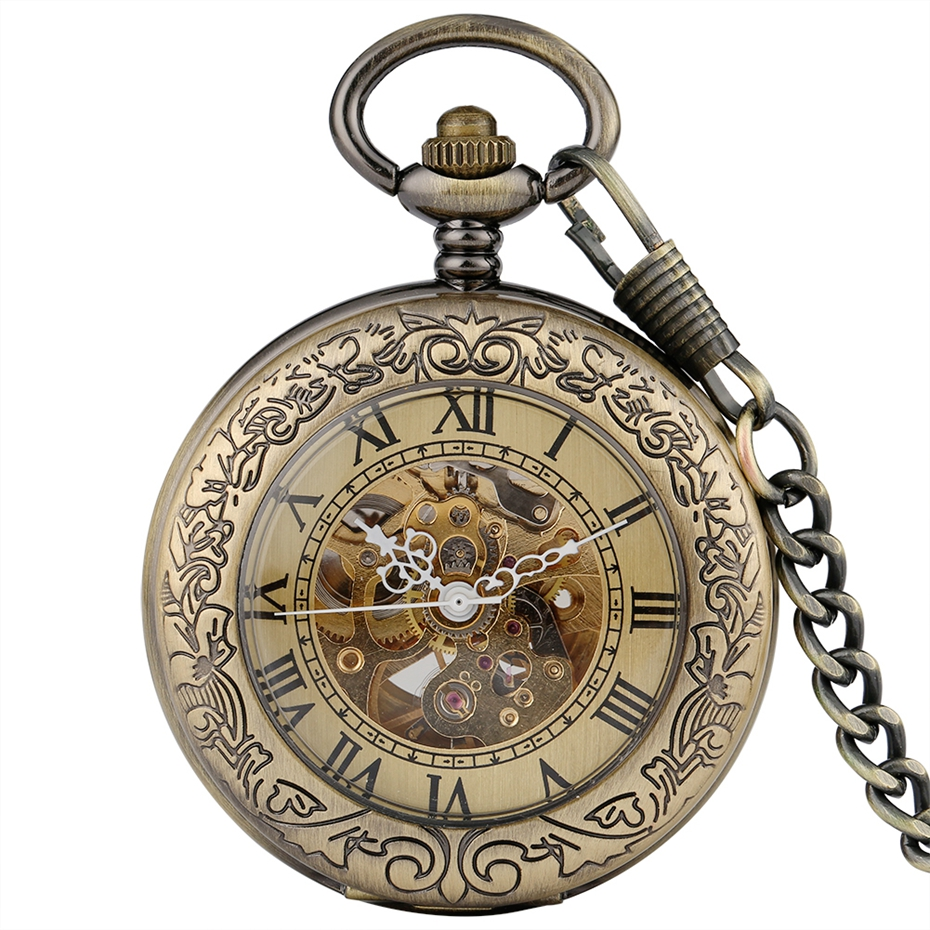 Men Automatic Mechanical Watches Retro Copper Self Winding Chain Roman Numerals Stylish Gifts Luxury Necklace Women Pocket Watch