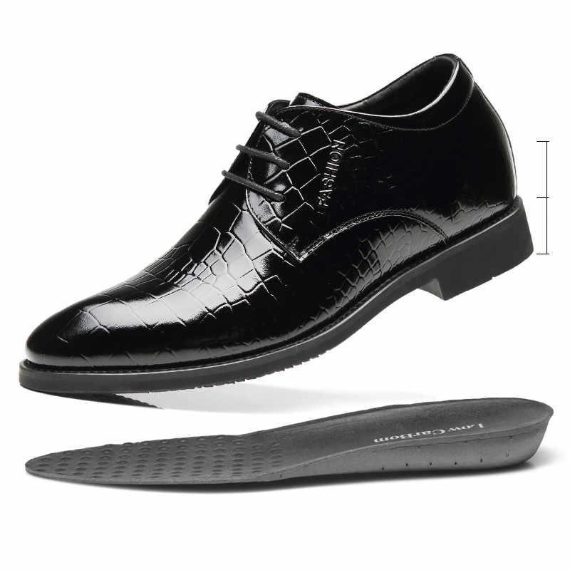 Misalwaパテントレザー男性正式なエレベーターの靴結婚式ビジネス 5 〜 7 センチメートル高さの増加リフト靴冬/春
