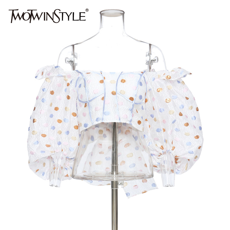 TWOTWINSTYLE Vintage Patchwork Sequins Women Shirts Slash Neck Lantern Three Quarter Sleeve Short Tunic Slim Bow Blouses Female