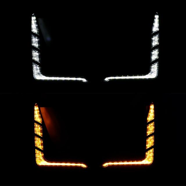 Car Flashing 1Pair Car LED Daytime Running Light Turn Yellow Signal Relay 12V DRL Daylight For Toyota Hilux Revo Rocco 2020 2021