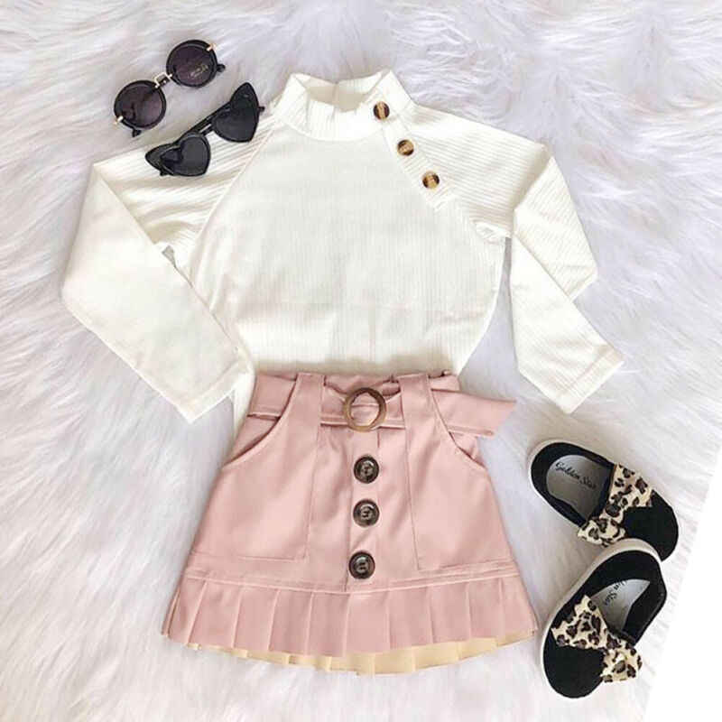 Toddler Baby Kids Girl Clothes Sets 1-6Y Winter White Knit Tops Sweaters+Button Mini Skirt Warm Outfits Set