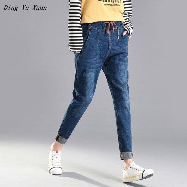 Boyfriend Elastic Waist Jeans for Women Korean Blue Jeans Denim Pants Women Oversized Jeans Woman Mujer Plus Size 4XL 5xl 6xl