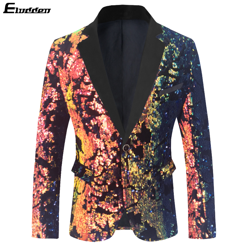 Men's Fashion Colorful Velvet Sequins Blazer Masculino Slim Fit Men Suit Jacket Wedding Prom Stage Singer Costume Shiny Blazers