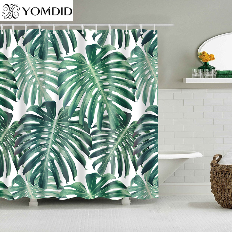 Grün Tropischen Pflanzen Dusche Vorhänge Bad Polyester Wasserdicht Dusche Vorhang Blätter Druck Vorhänge für Bad Dusche