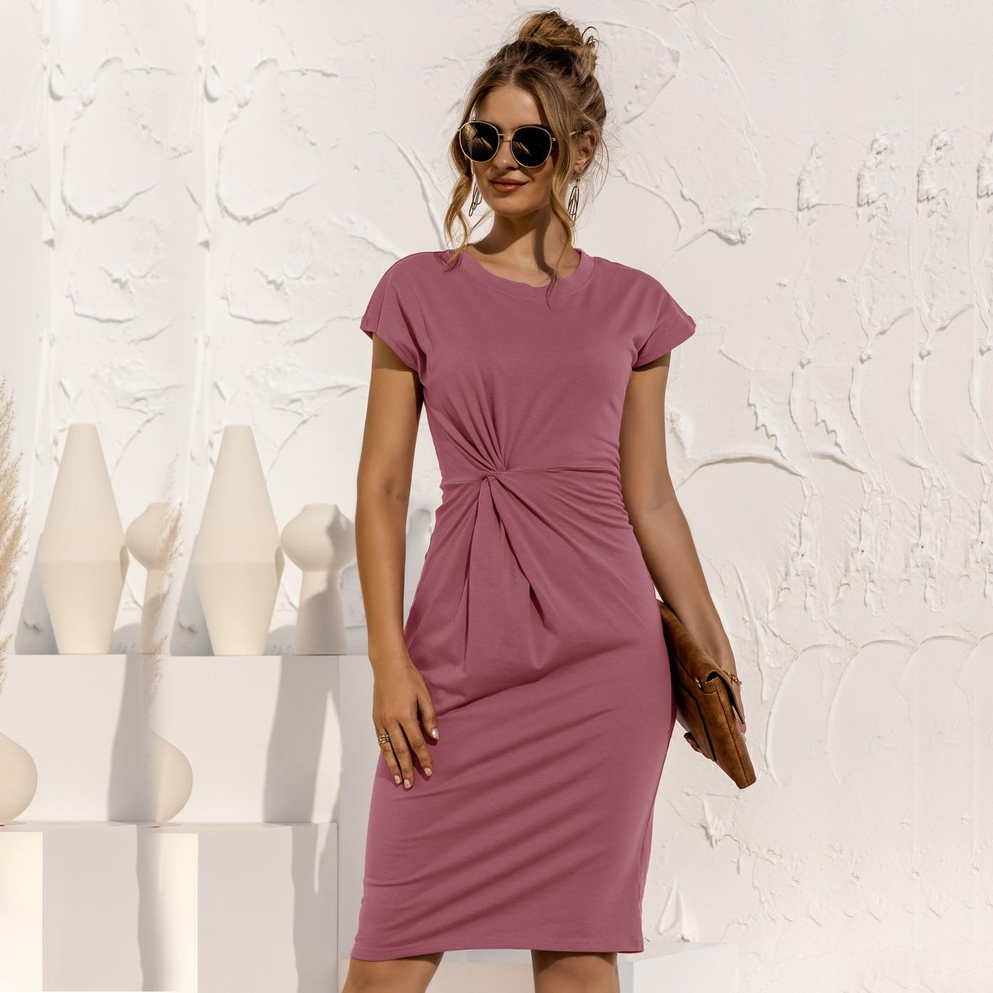 women knitted slim dress 202 summer Trumpet O-Neck short sleeve Empire Waist Slim Solid Straps Mid-calf knitted Dress 9