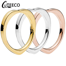 CUTEECO 2019 New Simple Heart Rings for Women Wedding Ring Engagement Romantic Jewelry Valentines Day Gift