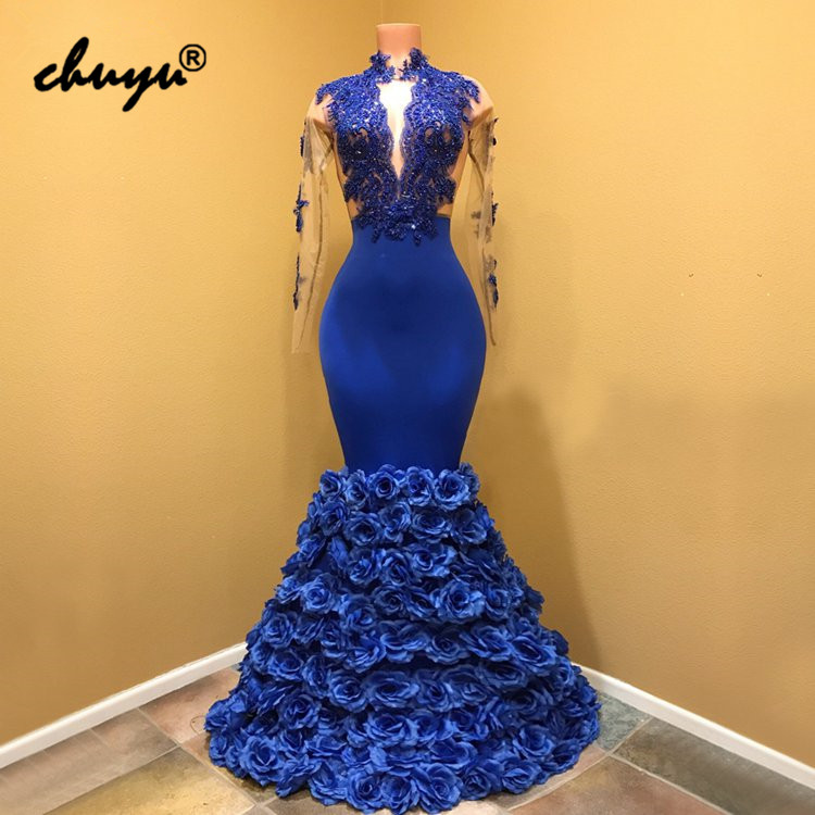 Royal Blue Muslim   Evening     Dresses   Flowers Lace vestido de festa Islamic Dubai Saudi Arabic   Evening   Gown Prom   Dress