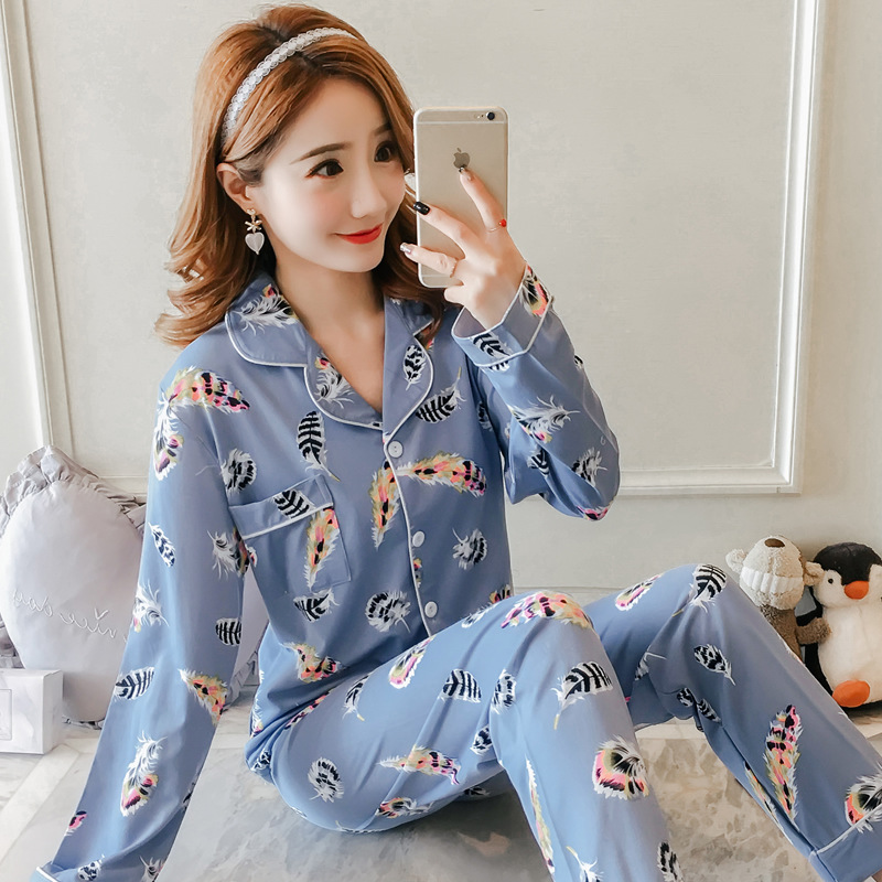 [[Jun Xin]] Autumn Cardigan 1023 # Feather 2-Color 200g Qmilch Long Sleeve Pajamas Suit M -Xxl