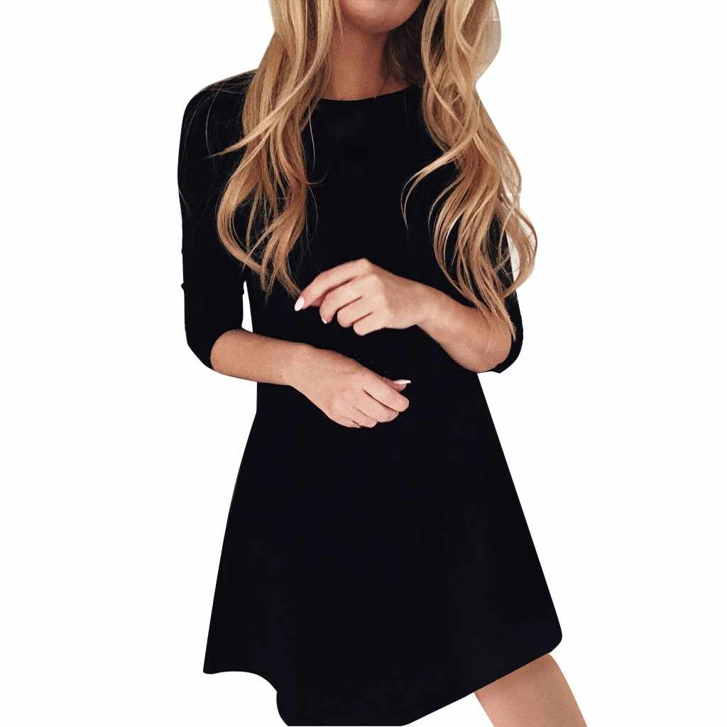 Fashion Dress Women Mini Black Dress Round Neck Casual Popular Elegant Long Sleeve Dress Short Party Dress #D8
