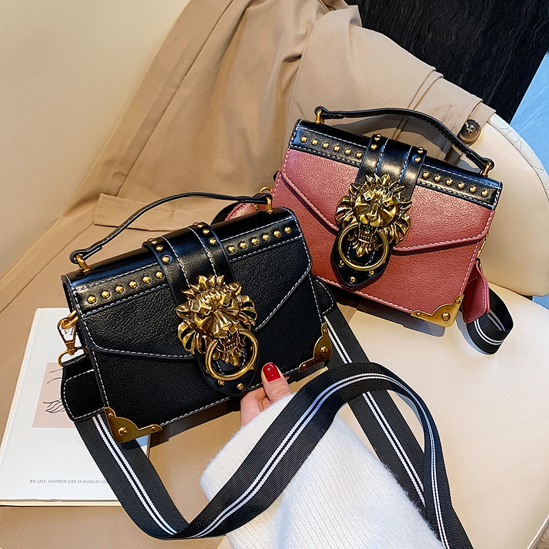 Hb82c549618644a4ba3c00ef5422baf11F - Female Fashion Handbags Popular Girls Crossbody Bags Totes Woman Metal Lion Head  Shoulder Purse Mini Square Messenger Bag