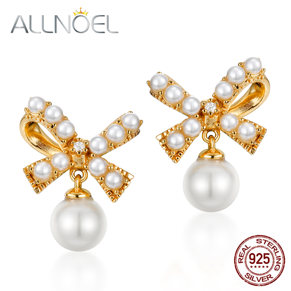 ALLNOEL Real 925 Sterling Silver 100% Real Pearl Drop Earrings Gold Plated Fashion Girls Women Fine Jewelry Bowknot Gift New